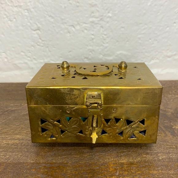 VTG Solid Brass Hinged Jewelry Box w/ Latch